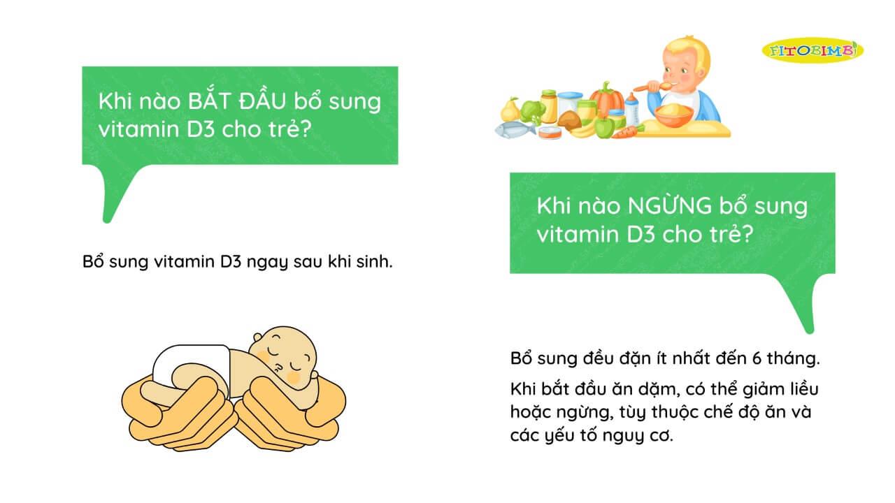 Khi nào bắt đầu và kết thúc bổ sung vitamin D3 cho trẻ?